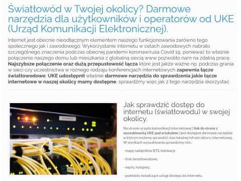Światłowód w Twojej okolicy - Darmowe narzędzia dla użytkowników i operatorów od UKE (Urząd Komunikacji Elektronicznej)