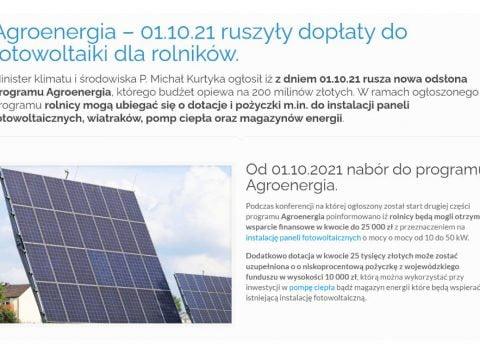 Agroenergia – 01.10.21 ruszyły dopłaty do fotowoltaiki dla rolników
