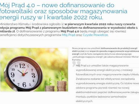 Mój Prąd 4.0 – nowe dofinansowanie do fotowoltaiki oraz sposobów magazynowania energii ruszy w I kwartale 2022 roku